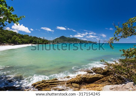 Nice sea view toward Laem Sing beach  - stock photo