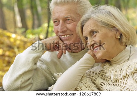 nice senior couple standing in autumn park