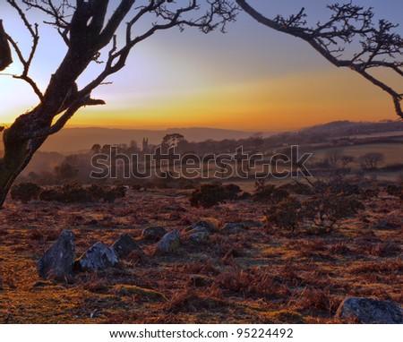Nice setting on Dartmoor National Park, UK - stock photo