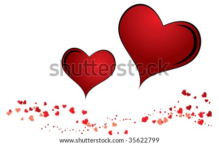 Nice several red hearts for your valentine design - stock photo