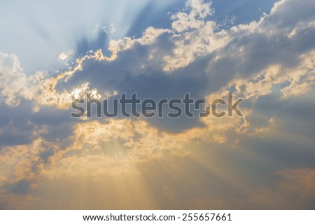 nice sky sunset with sun rays. - stock photo