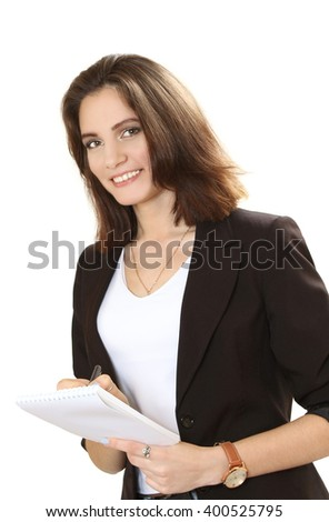 nice smiling business woman. isolated on a white background