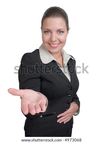 nice smiling girl in business siut offers over her hands whatever you want