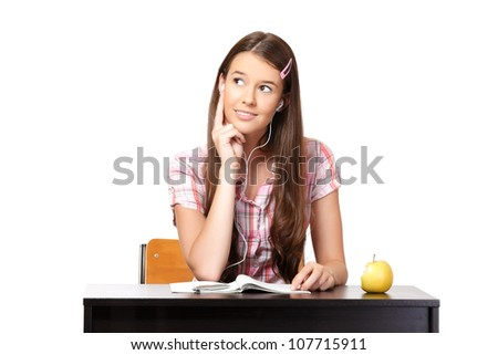 nice student thinking and listening music - stock photo