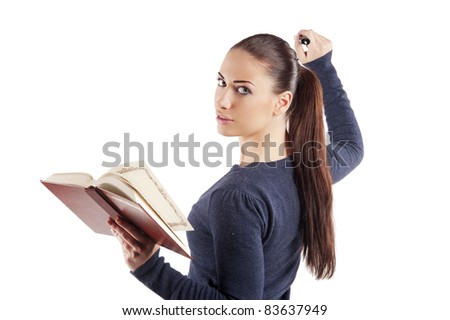 nice student woman keeping a book and writing on transparent glass over white