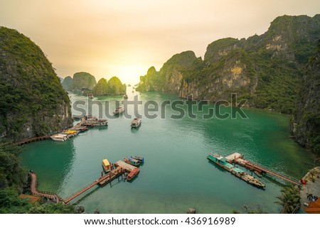 Nice sun set Halong Bay, Vietnam