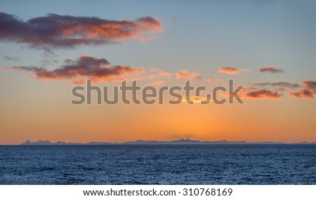 Nice sunrise. View from the Lofoten Islands - Norway - stock photo