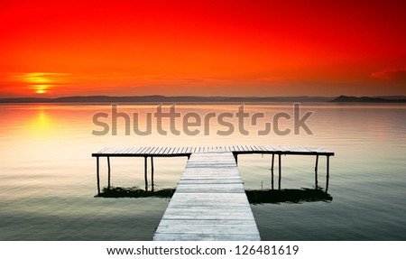 Nice sunset at lake Balaton, Hungary - stock photo