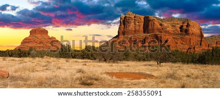 Nice Sunset Image of Cathedral Rock in Sedona; Arizona. - stock photo