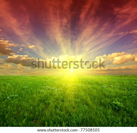 Nice sunset in steppe - stock photo