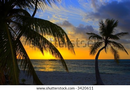Nice Sunset in the Indian Ocean - stock photo