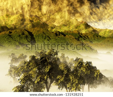 Nice sunset over mountains and forested  land - stock photo