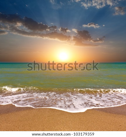 Nice sunset over sea - stock photo