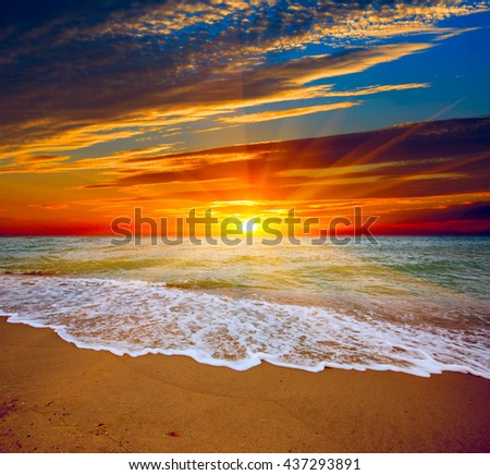 Nice sunset over sea beach