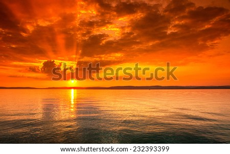 Nice sunset photo - stock photo