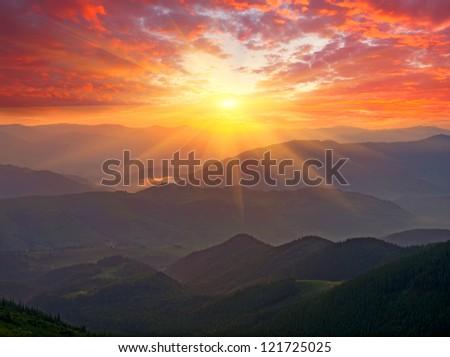 Nice sunset scene in mountains - stock photo