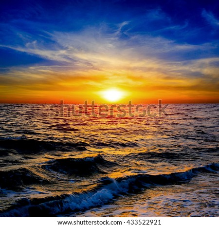 nice sunset scene over sea