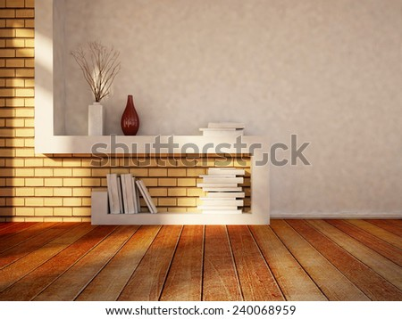 nice table for the books, vases, 3D rendering - stock photo