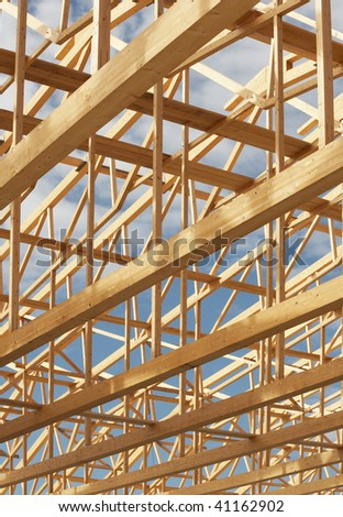 Nice timber work on a new constructed warehouse. - stock photo