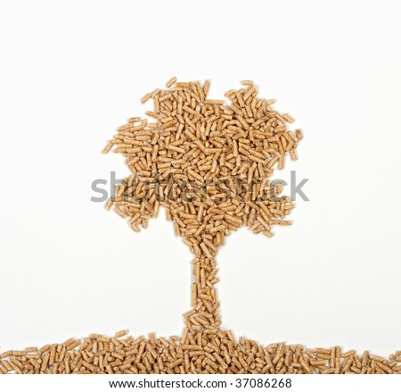 nice tree of wood pellet on white background - stock photo