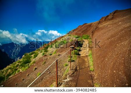 nice trekking from Pico do Arieiro to Pico Ruivo, Madeira, Portugal - stock photo