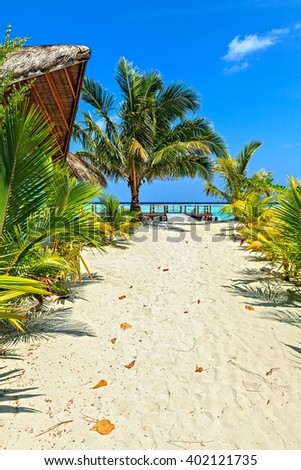 Nice tropical seascape, Maldives, The Indian Ocean - stock photo