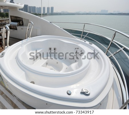 nice tub on a luxury yacht. - stock photo