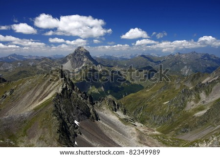 Nice valley and great mountain - stock photo