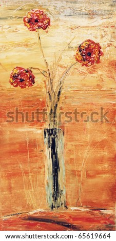 Nice vertical Abstract Original Flower painting On Canvas - stock photo
