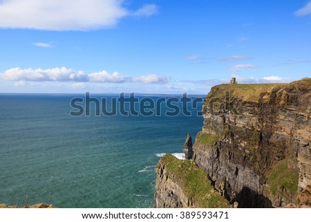 nice view of Cliffs of Moher in Ireland - stock photo