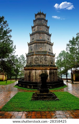 nice view of Pagoda Thien Mu, Hue, central Vietnam - stock photo