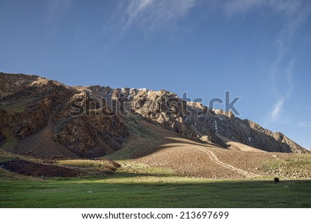 Nice view of rocky mountains - stock photo