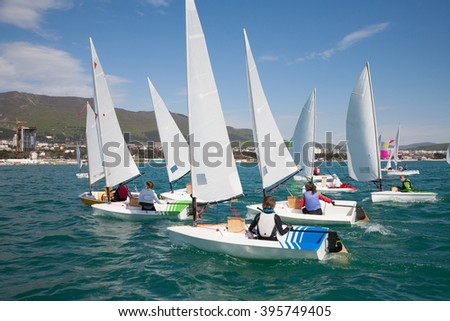 Nice view of sailboats leaving on Regatta - stock photo