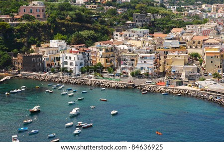 Nice view of summer Ischia island - stock photo