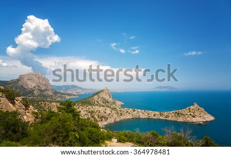 Nice view of the Black Sea and Cape Kapchik, Crimea, Russia - stock photo