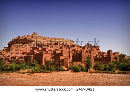 Nice view of the Kasbah of Ait Benhaddou, Morocco. Background - stock photo