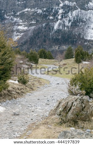 Nice view on high mountains covered with snow Pineta valley Huesca Aragon Spain