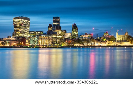 Nice view on the financial district of London - stock photo
