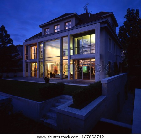 nice view  on the largte family house in the nigth - stock photo