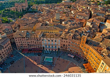 Nice view on the old town and city of Siena, Italy  - stock photo