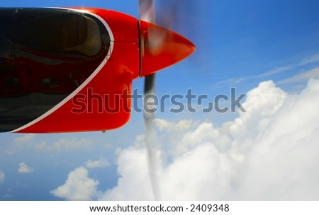 Nice view out of seaplane's bull's-eye - stock photo