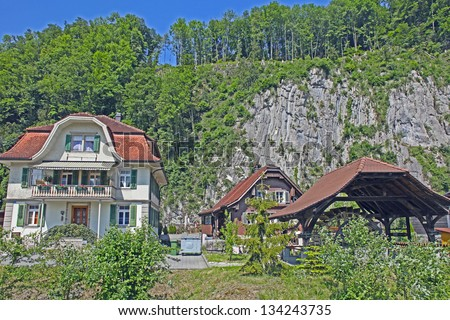 Nice Village in Alps , Switzerland - stock photo
