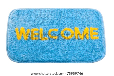 Nice welcome cleaning foot carpet doormat isolated on white - stock photo