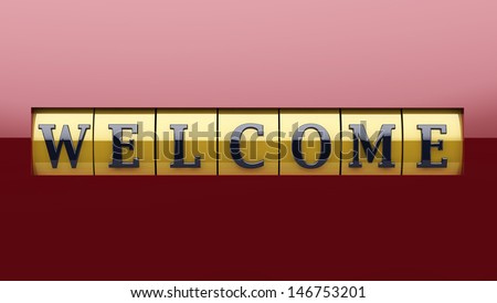 Nice welcome sign based on a roller with text, in yellow and warm red. - stock photo