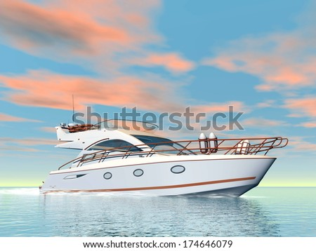 Nice white yacht on water by colorful sunset - stock photo