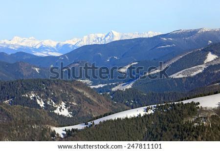 Nice winter scene in mountains, Slovakia - stock photo