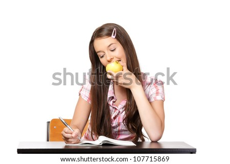 nice woman learning and eating apple - stock photo