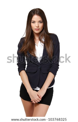 nice woman posing in studio - stock photo
