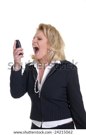 nice woman with a phone while a call and scream - stock photo