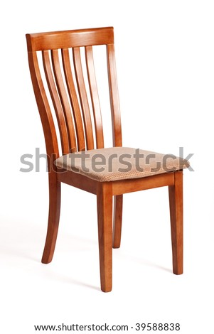 Nice wooden chair isolated on white with shadow